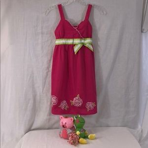 HP🏆Embroidered Roses Ruffles & Bows Dress Lovely!